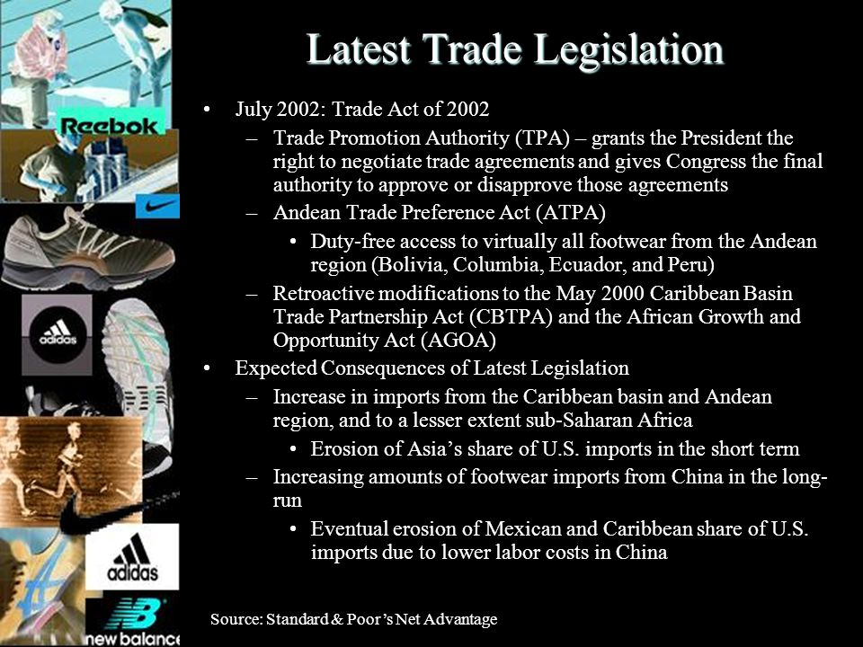 Latest Trade Legislation July 2002: Trade Act of 2002 –Trade Promotion Authority (TPA) – grants the President the right to negotiate trade agreements