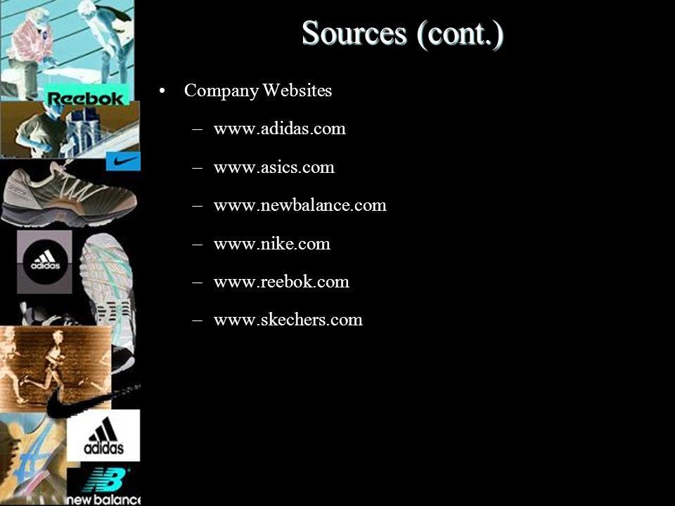 Sources (cont.) Company Websites –www.adidas.com –www.asics.com –www.newbalance.com –www.nike.com –www.reebok.com –www.skechers.com