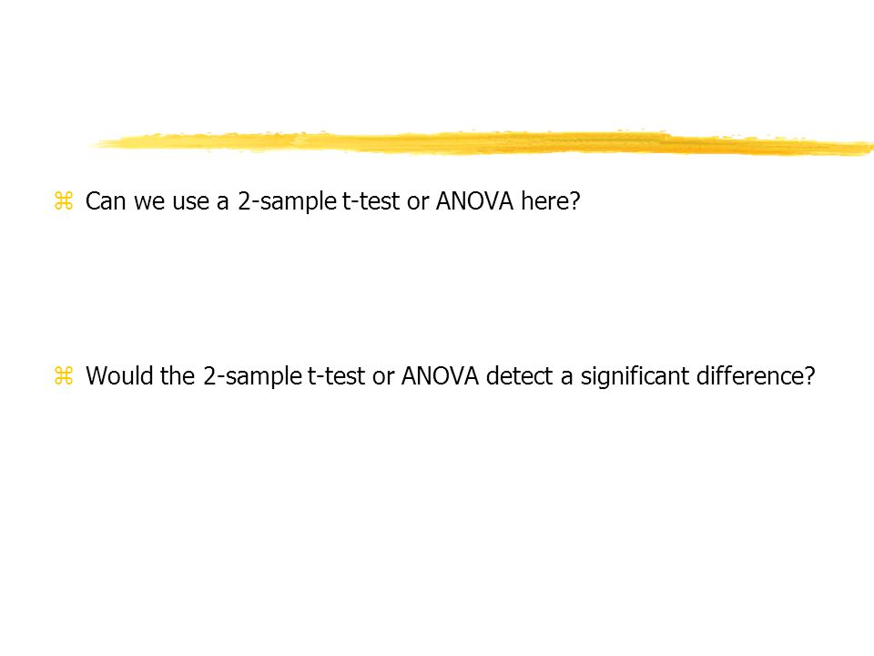 zCan we use a 2-sample t-test or ANOVA here.