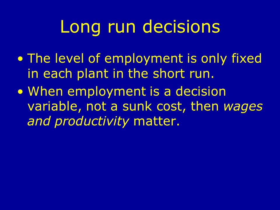 Long run decisions The level of employment is only fixed in each plant in the short run.