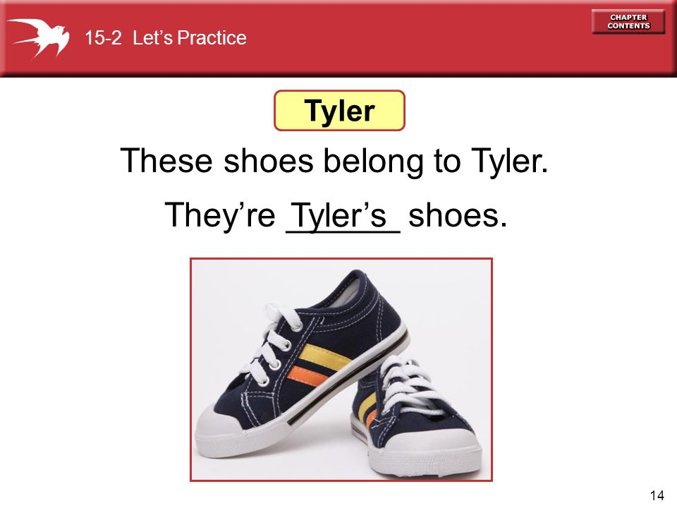 14 These shoes belong to Tyler. Theyre ______ shoes. 15-2 Lets Practice Tyler Tylers