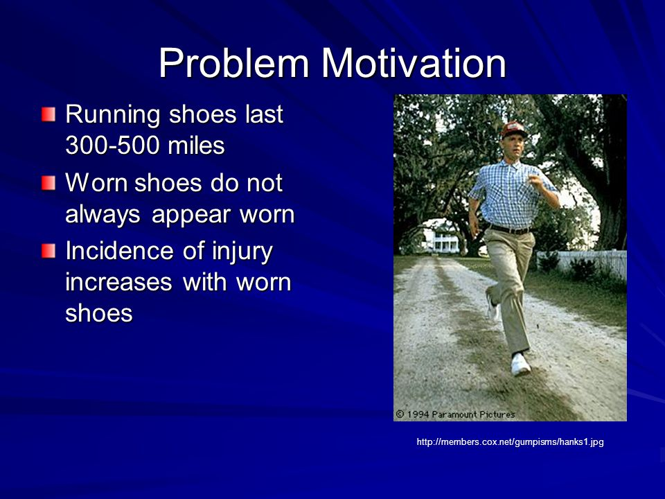 Problem Motivation Running shoes last 300-500 miles Worn shoes do not always appear worn Incidence of injury increases with worn shoes http://members.