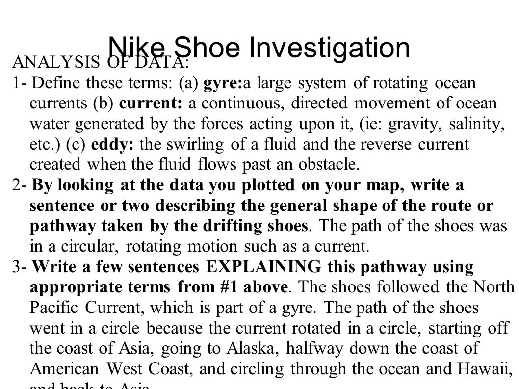 Nike Shoe Investigation ANALYSIS OF DATA: 1- Define these terms: (a) gyre:a large system of rotating ocean currents (b) current: a continuous, directe