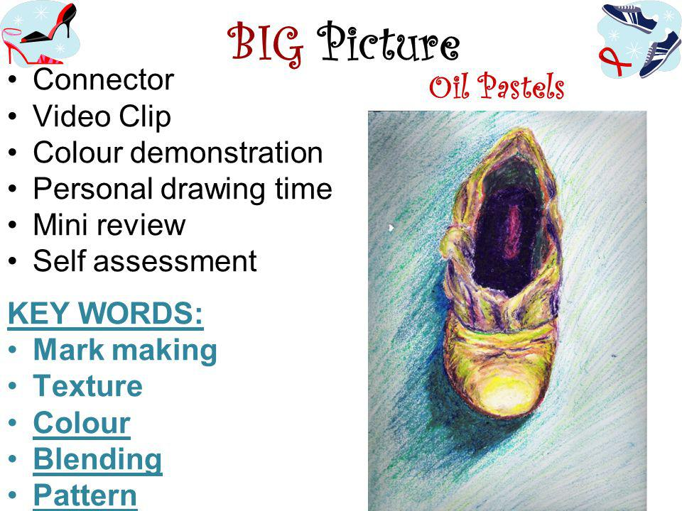 BIG Picture Connector Video Clip Colour demonstration Personal drawing time Mini review Self assessment KEY WORDS: Mark making Texture Colour Blending Pattern Oil Pastels