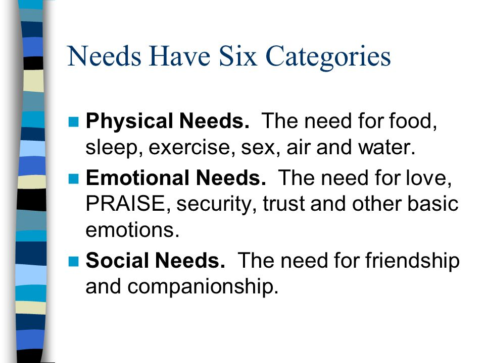 Needs Have Six Categories Physical Needs.The need for food, sleep, exercise, sex, air and water.