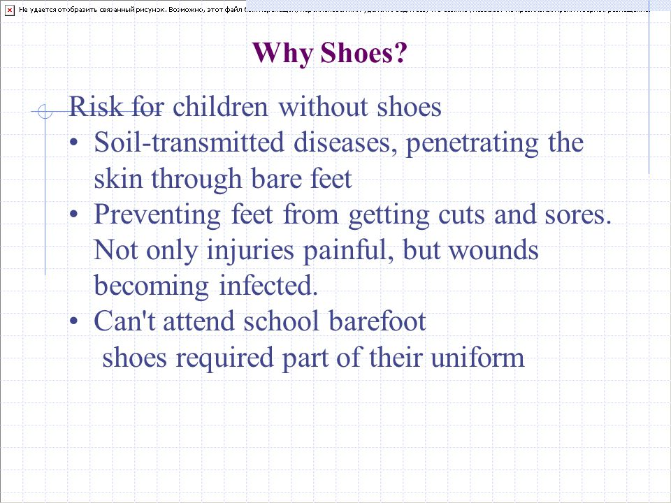 Why Shoes? Risk for children without shoes Soil-transmitted diseases, penetrating the skin through bare feet Preventing feet from getting cuts and sor