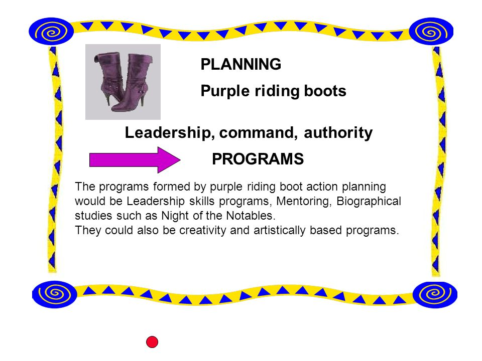 The programs formed by purple riding boot action planning would be Leadership skills programs, Mentoring, Biographical studies such as Night of the Notables.