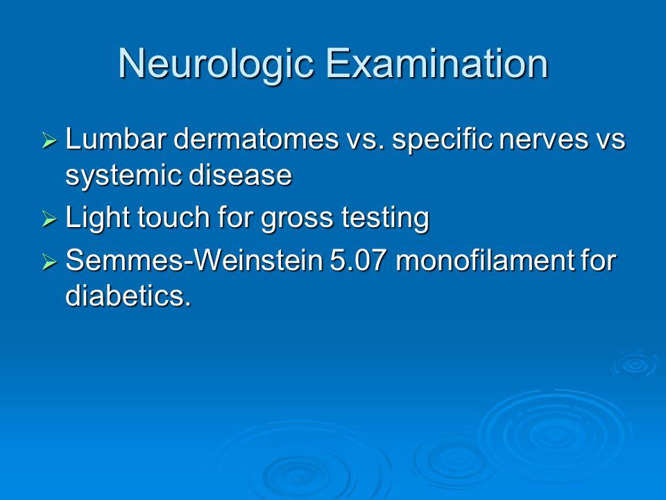Neurologic Examination Lumbar dermatomes vs. specific nerves vs systemic disease Lumbar dermatomes vs. specific nerves vs systemic disease Light touch