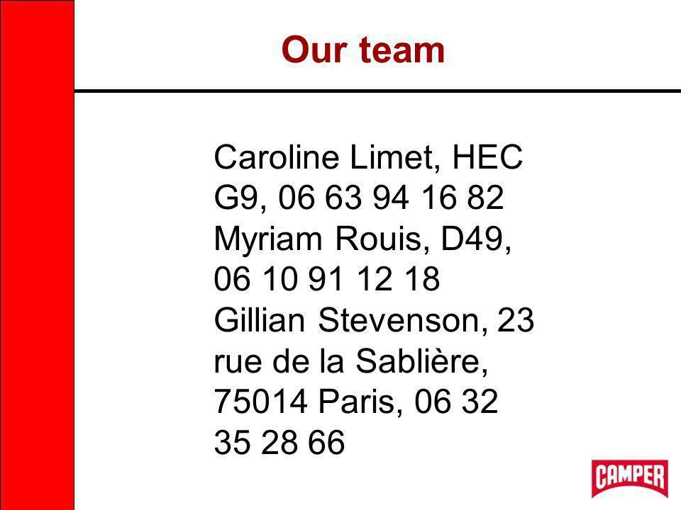 Our team Caroline Limet, HEC G9, 06 63 94 16 82 Myriam Rouis, D49, 06 10 91 12 18 Gillian Stevenson, 23 rue de la Sablière, 75014 Paris, 06 32 35 28 66