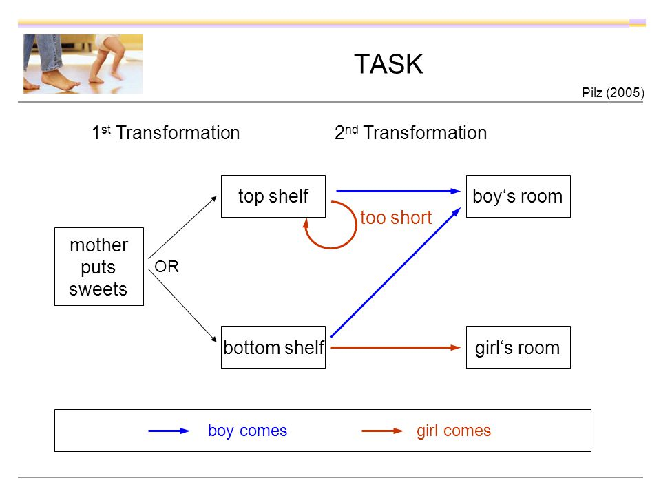TASK mother puts sweets bottom shelf top shelfboys room girls room boy comes girl comes OR too short 1 st Transformation 2 nd Transformation Pilz (2005)