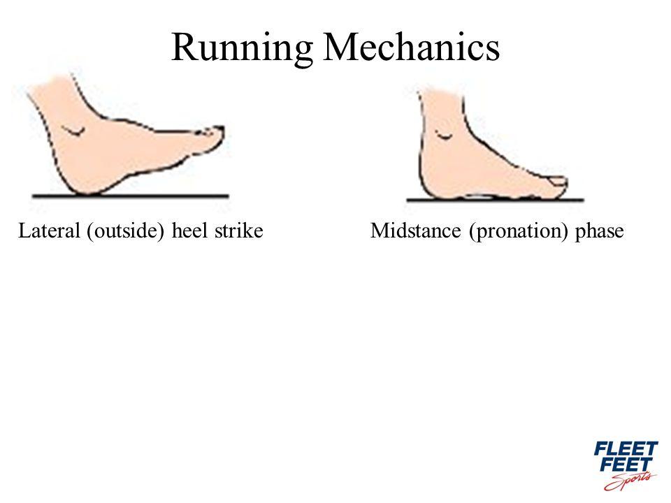 Lateral (outside) heel strikeMidstance (pronation) phase Running Mechanics