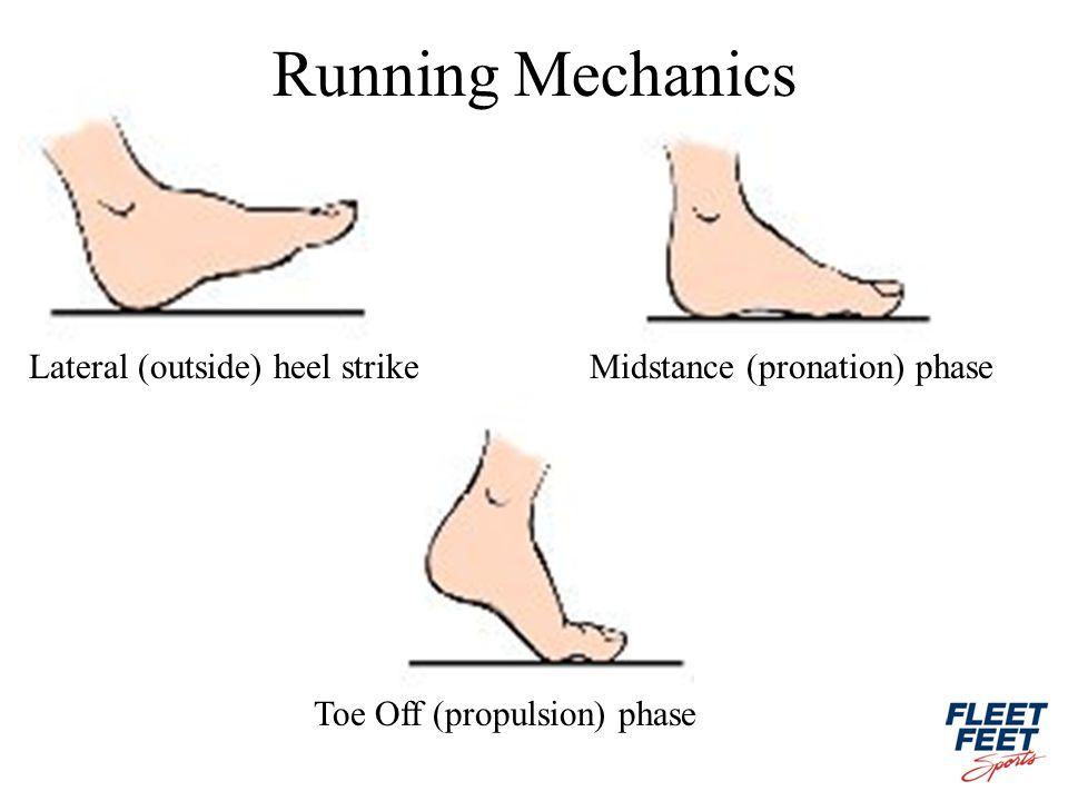 Lateral (outside) heel strikeMidstance (pronation) phase Running Mechanics Toe Off (propulsion) phase