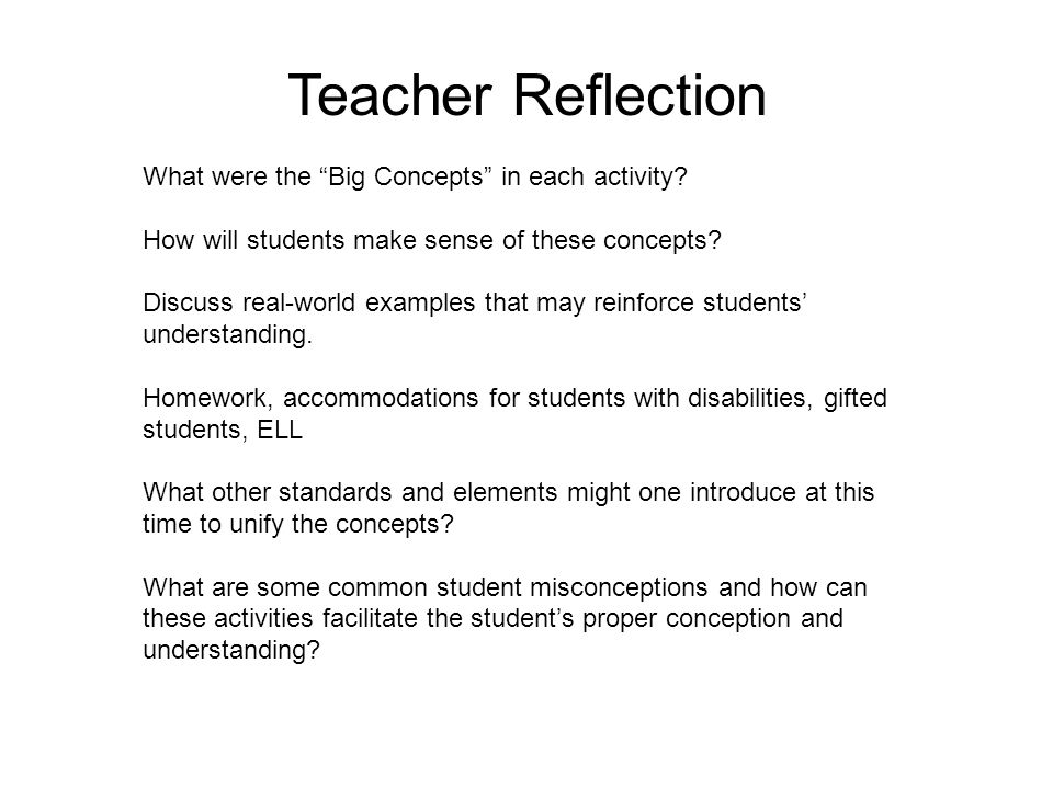 What were the Big Concepts in each activity. How will students make sense of these concepts.