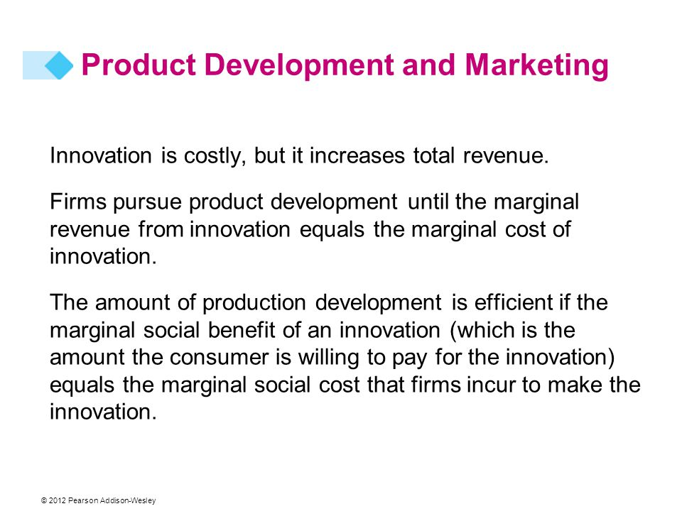 © 2012 Pearson Addison-Wesley Innovation is costly, but it increases total revenue.