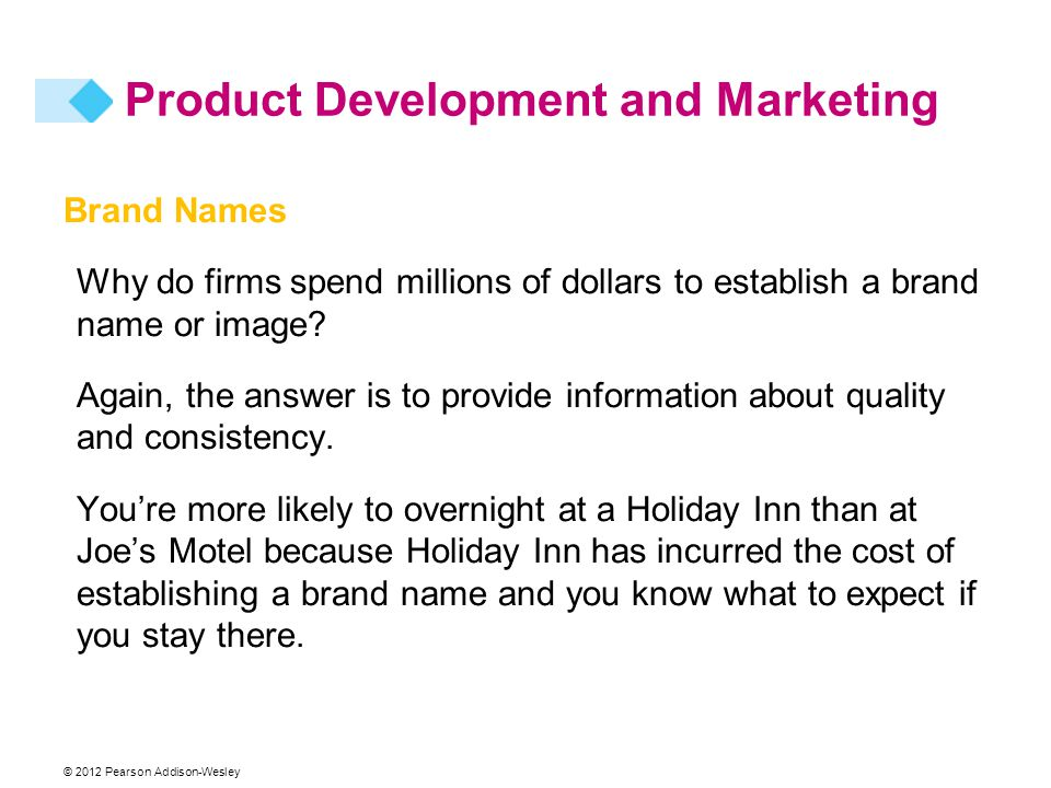 © 2012 Pearson Addison-Wesley Brand Names Why do firms spend millions of dollars to establish a brand name or image.