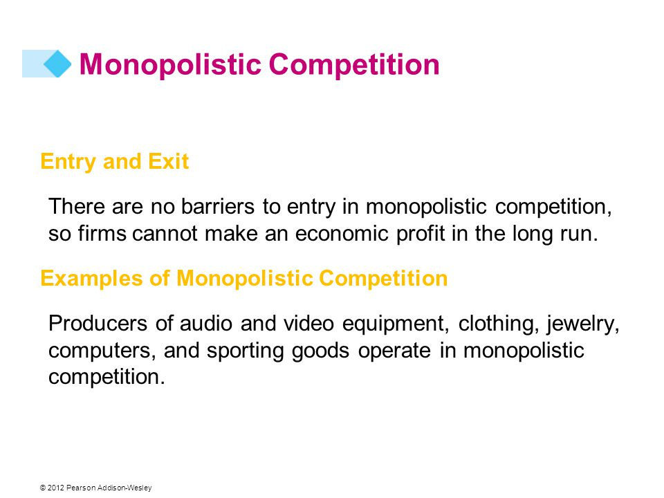 © 2012 Pearson Addison-Wesley Entry and Exit There are no barriers to entry in monopolistic competition, so firms cannot make an economic profit in the long run.