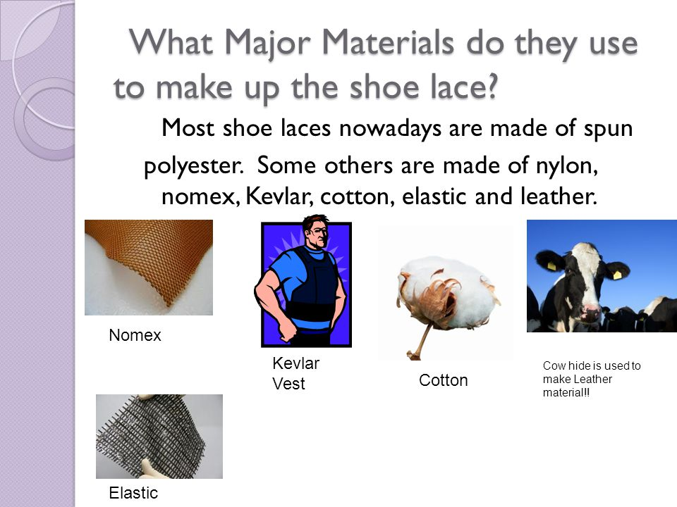 What Major Materials do they use to make up the shoe lace.