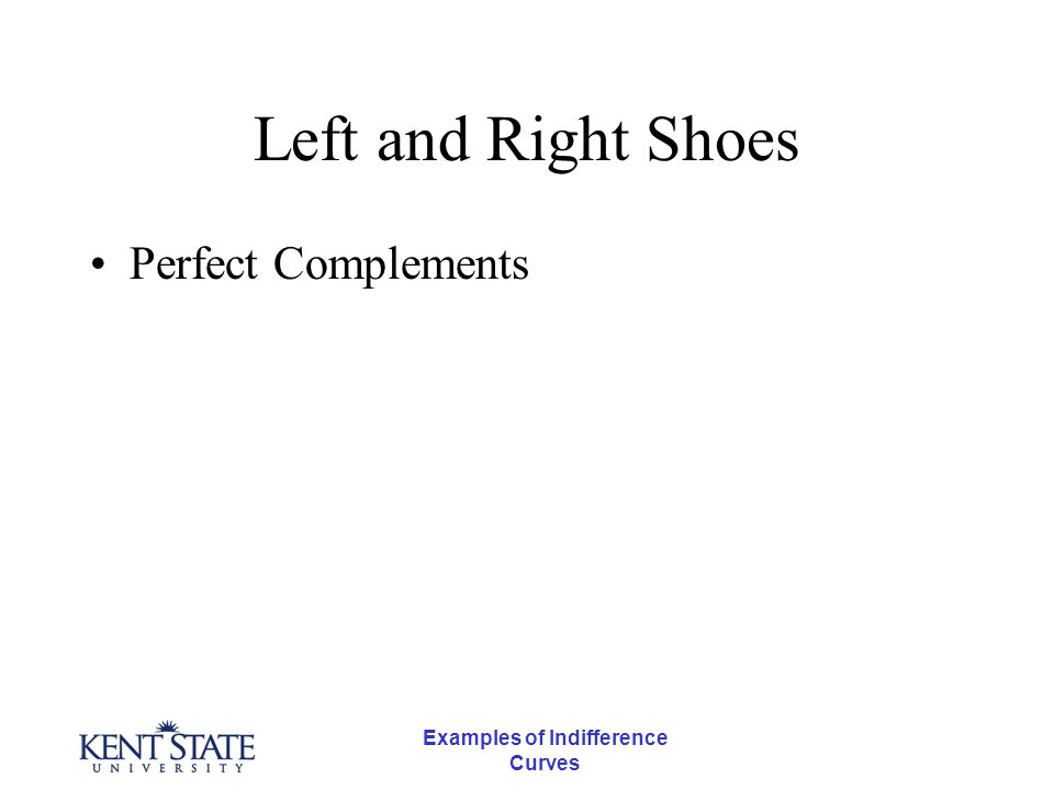 Examples of Indifference Curves Left and Right Shoes Perfect Complements