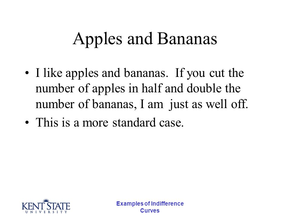 Examples of Indifference Curves Apples and Bananas I like apples and bananas.