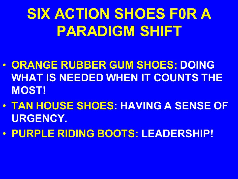 SIX ACTION SHOES F0R A PARADIGM SHIFT BROWN BROGUE: FINDING THE RIGHT PARTNERS/PERSON FOR EACH JOB! WHITE SNEAKERS: A COMMISSION TO GATHER AND ANALYZE