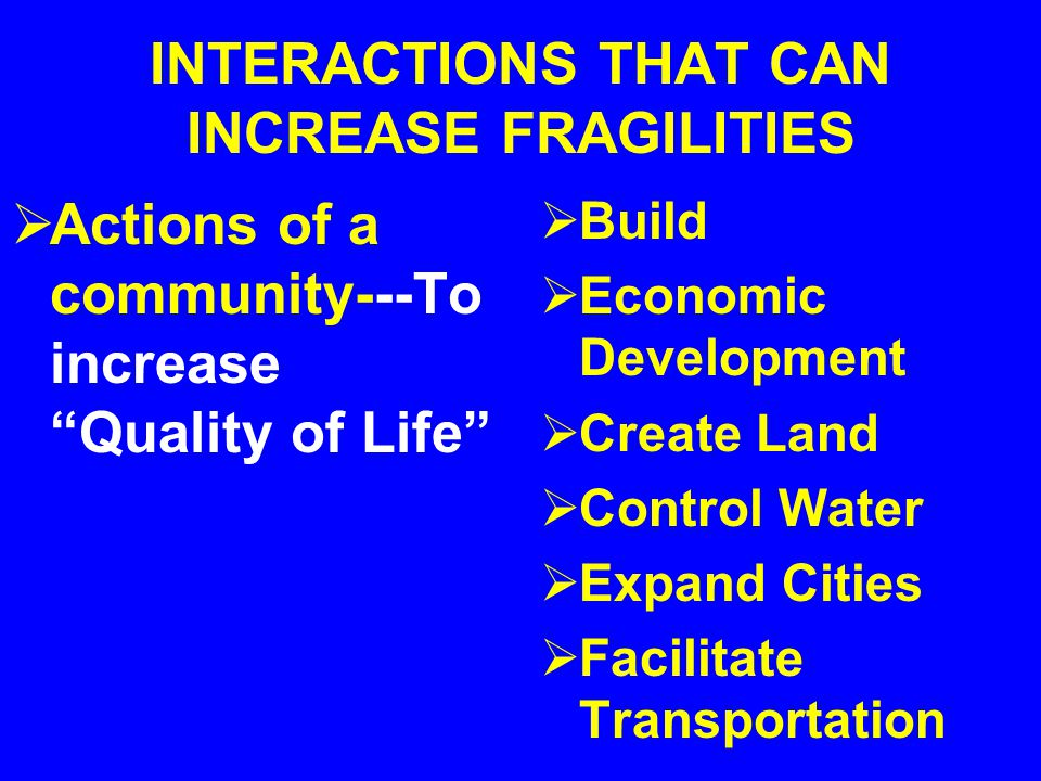 INTERACTIONS THAT EXPOSE FRAGILITIES Extreme Storms---- Natural Phenomena that interact with PEOPLE and COMMUNITIES Tropical Storms Hurricanes Typhoon
