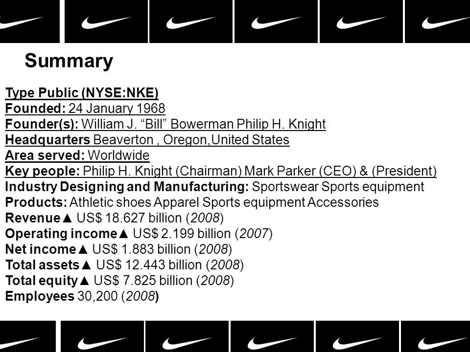 Summary Type Public (NYSE:NKE) Founded: 24 January 1968 Founder(s): William J. Bill Bowerman Philip H. Knight Headquarters Beaverton, Oregon,United St
