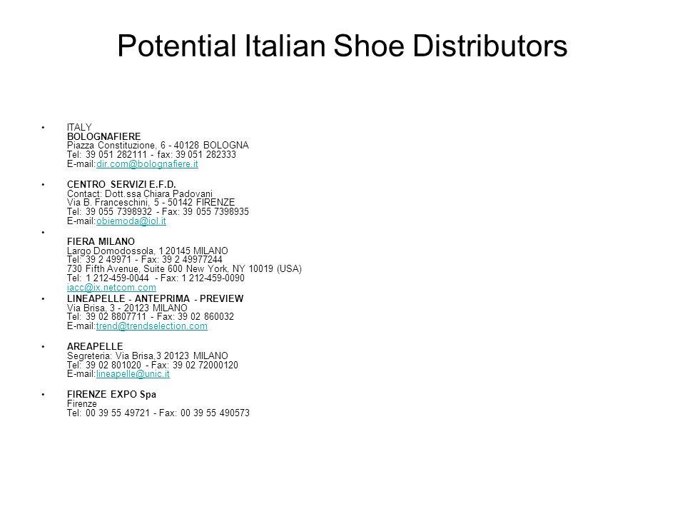 Potential Italian Shoe Distributors ITALY BOLOGNAFIERE Piazza Constituzione, 6 - 40128 BOLOGNA Tel: 39 051 282111 - fax: 39 051 282333 E-mail:dir.com@bolognafiere.it dir.com@bolognafiere.it CENTRO SERVIZI E.F.D.