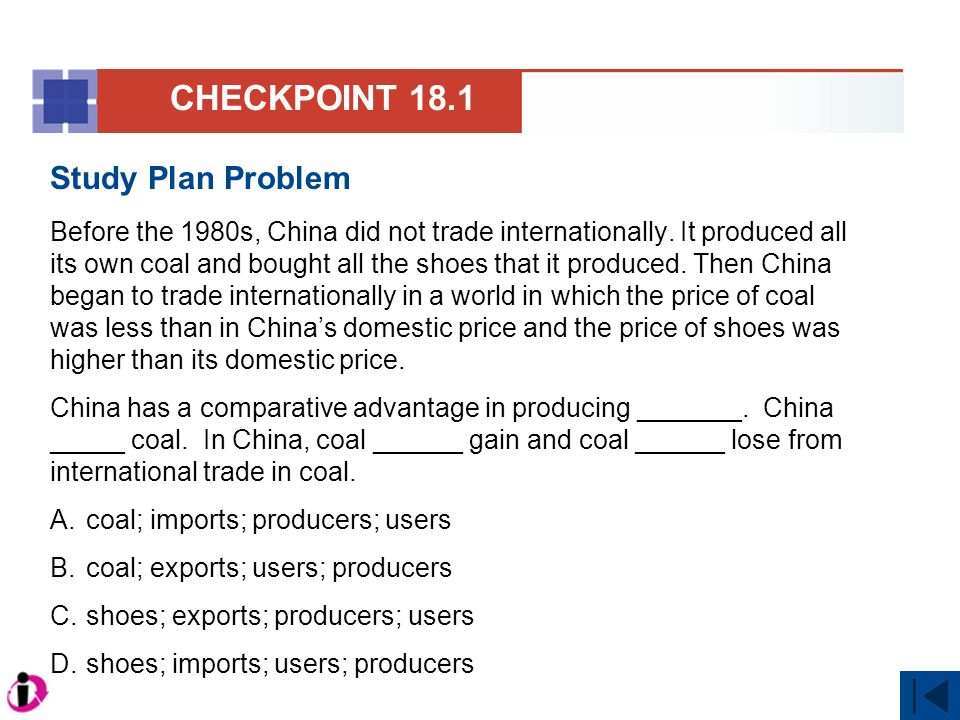 Solution With the United States in recession, a likely argument against free trade with China in farm products would be impose restrictions to save U.S.
