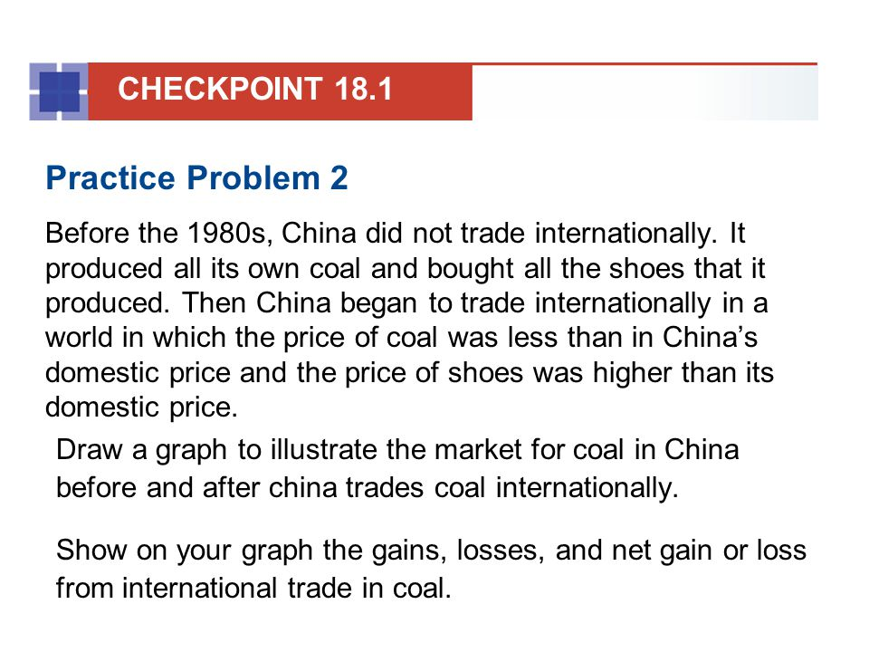 Solution The figure shows the market for coal in China with international trade.