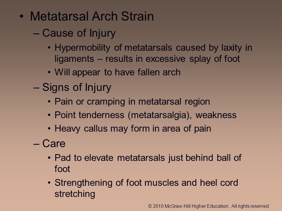© 2010 McGraw-Hill Higher Education. All rights reserved. Metatarsal Arch Strain –Cause of Injury Hypermobility of metatarsals caused by laxity in lig