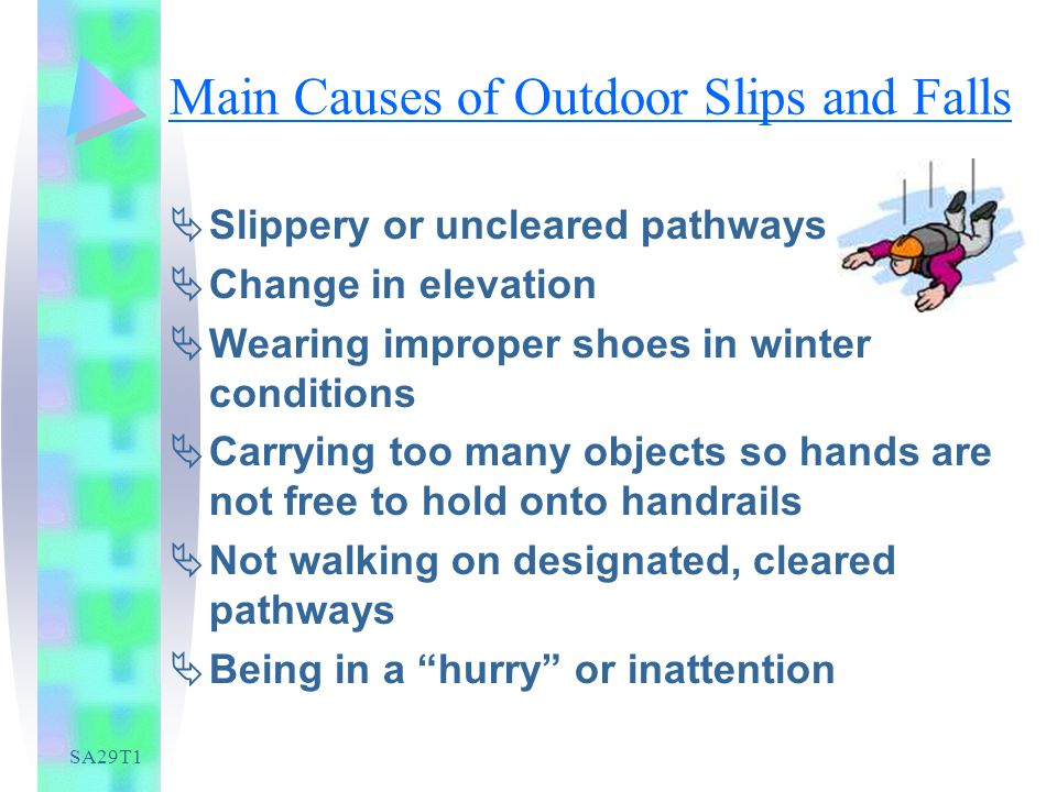 SA29T1 Main Causes of Outdoor Slips and Falls Slippery or uncleared pathways Change in elevation Wearing improper shoes in winter conditions Carrying too many objects so hands are not free to hold onto handrails Not walking on designated, cleared pathways Being in a hurry or inattention