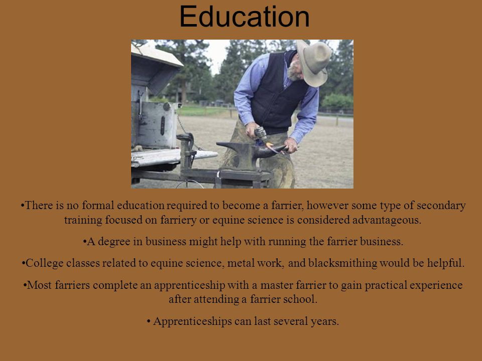 Education There is no formal education required to become a farrier, however some type of secondary training focused on farriery or equine science is considered advantageous.