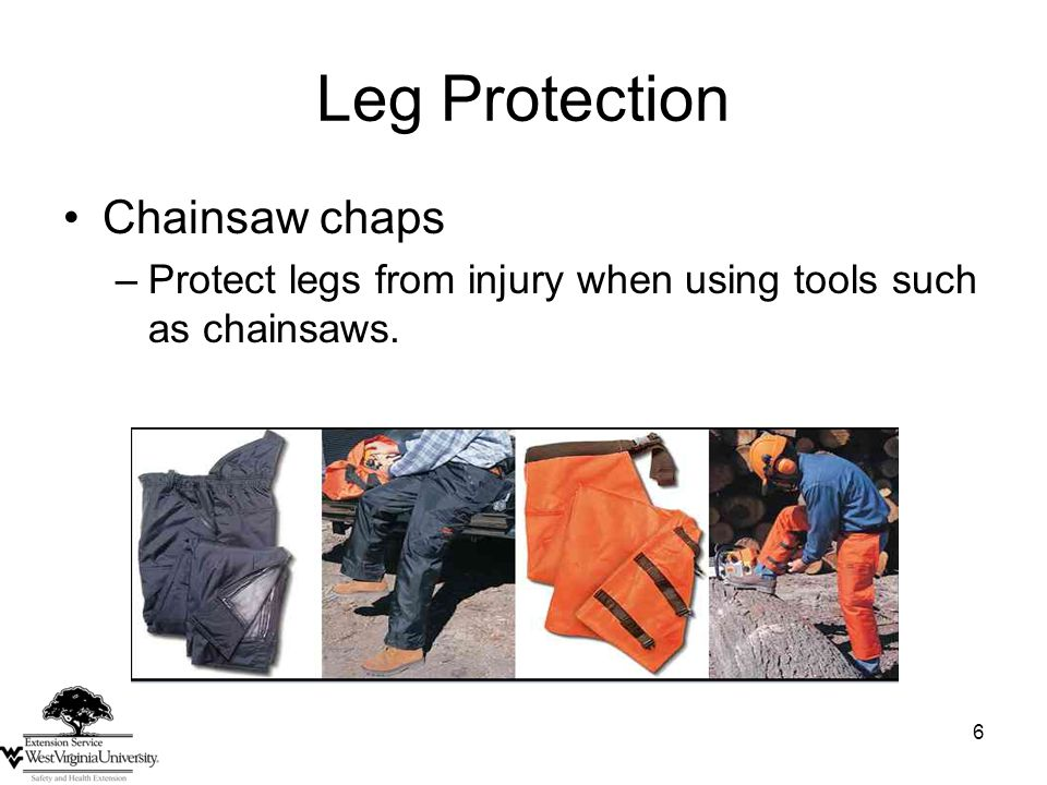 6 Leg Protection Chainsaw chaps –Protect legs from injury when using tools such as chainsaws.