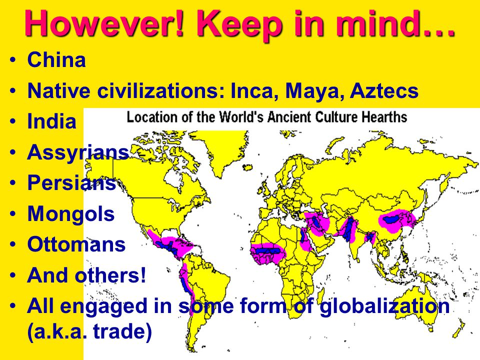 However! Keep in mind… China Native civilizations: Inca, Maya, Aztecs India Assyrians Persians Mongols Ottomans And others! All engaged in some form o