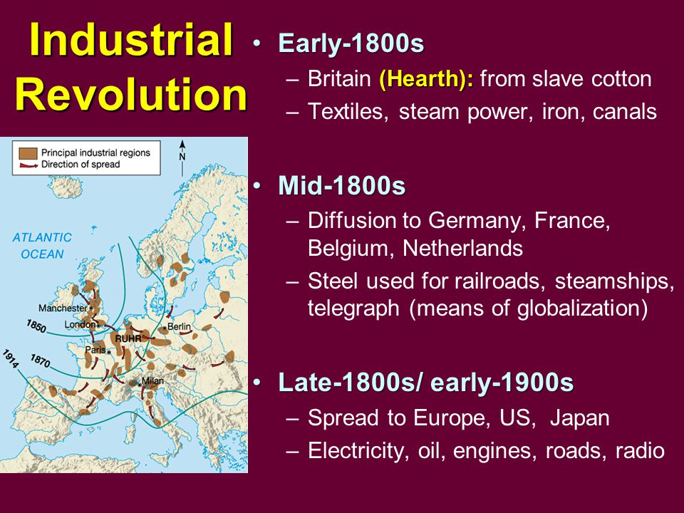 Industrial Revolution Early-1800sEarly-1800s (Hearth): –Britain (Hearth): from slave cotton –Textiles, steam power, iron, canals Mid-1800sMid-1800s –Diffusion to Germany, France, Belgium, Netherlands –Steel used for railroads, steamships, telegraph (means of globalization) Late-1800s/ early-1900sLate-1800s/ early-1900s –Spread to Europe, US, Japan –Electricity, oil, engines, roads, radio