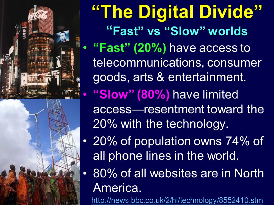 Fast (20%)Fast (20%) have access to telecommunications, consumer goods, arts & entertainment.