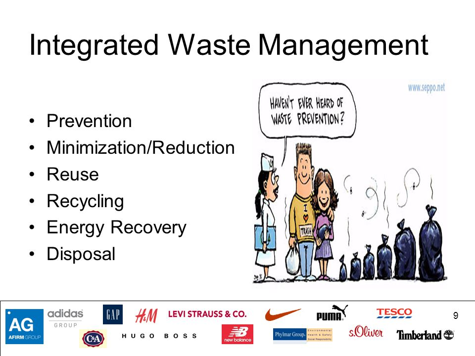 9 Integrated Waste Management Prevention Minimization/Reduction Reuse Recycling Energy Recovery Disposal