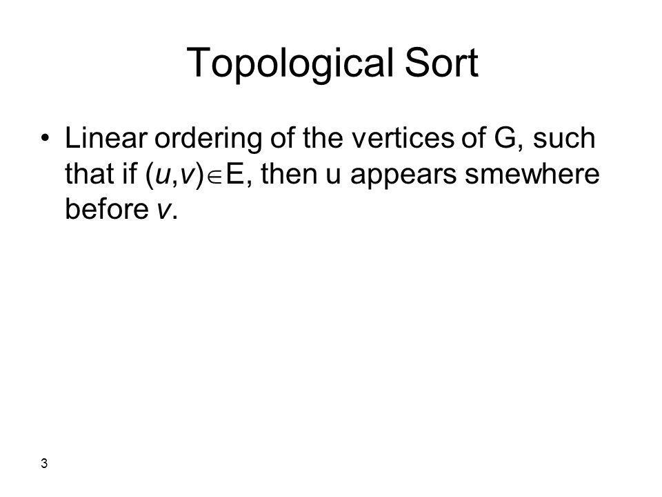 3 Topological Sort Linear ordering of the vertices of G, such that if (u,v) E, then u appears smewhere before v.