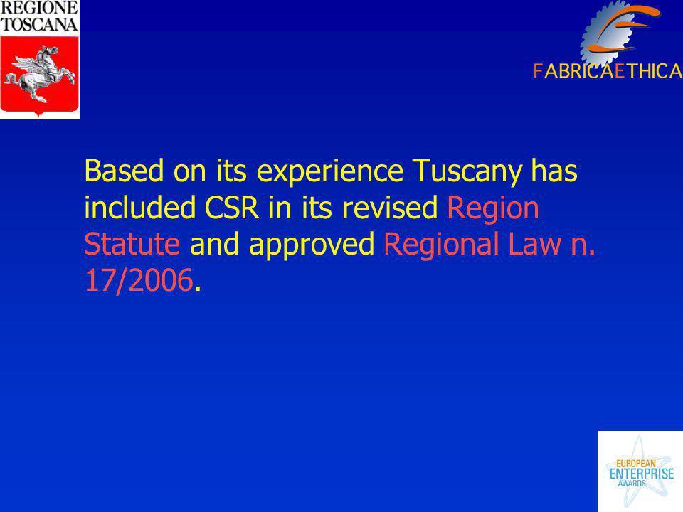 Definition of CSR in the Regional law n.