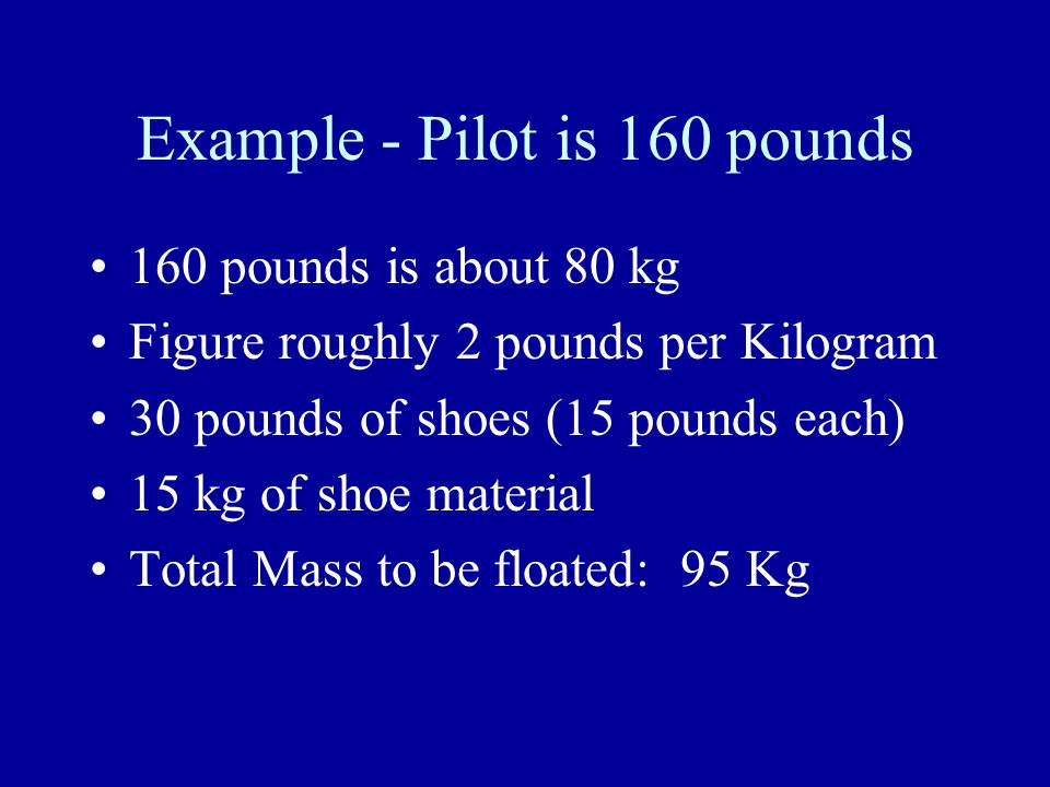 Example - Pilot is 160 pounds 160 pounds is about 80 kg Figure roughly 2 pounds per Kilogram 30 pounds of shoes (15 pounds each) 15 kg of shoe material Total Mass to be floated: 95 Kg