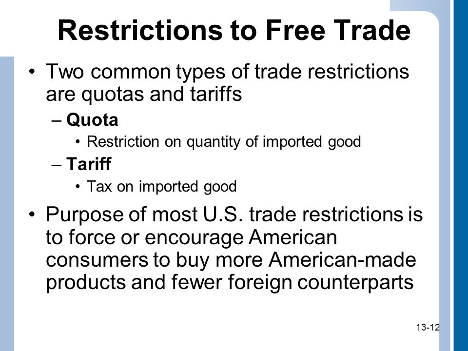 13-12 Restrictions to Free Trade Two common types of trade restrictions are quotas and tariffs –Quota Restriction on quantity of imported good –Tariff Tax on imported good Purpose of most U.S.
