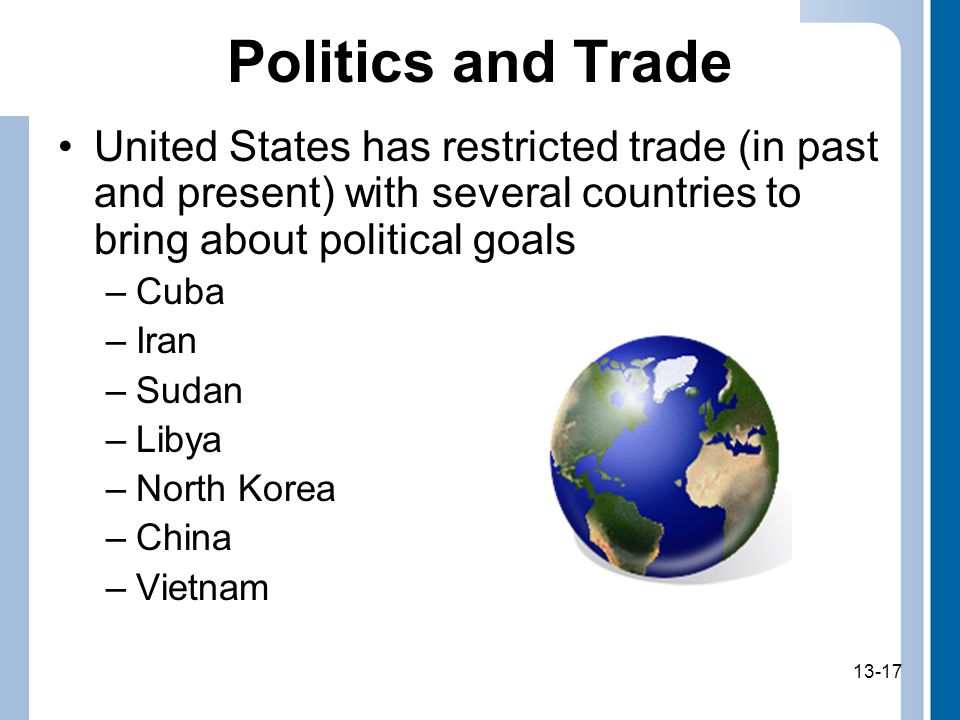 13-17 Politics and Trade United States has restricted trade (in past and present) with several countries to bring about political goals –Cuba –Iran –Sudan –Libya –North Korea –China –Vietnam 13-17