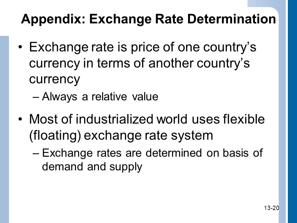 13-20 Appendix: Exchange Rate Determination Exchange rate is price of one countrys currency in terms of another countrys currency –Always a relative v