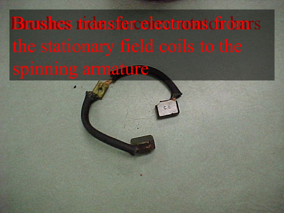 Brushes ride on commutator barsBrushes transfer electrons from the stationary field coils to the spinning armature