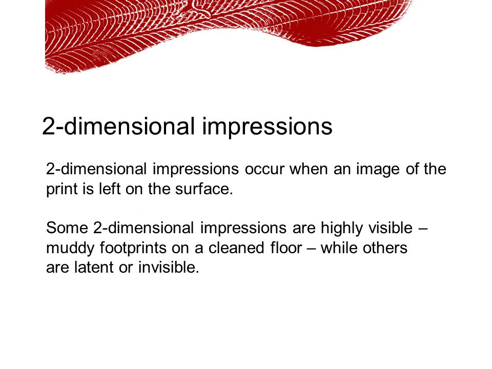 2-dimensional impressions 2-dimensional impressions occur when an image of the print is left on the surface. Some 2-dimensional impressions are highly