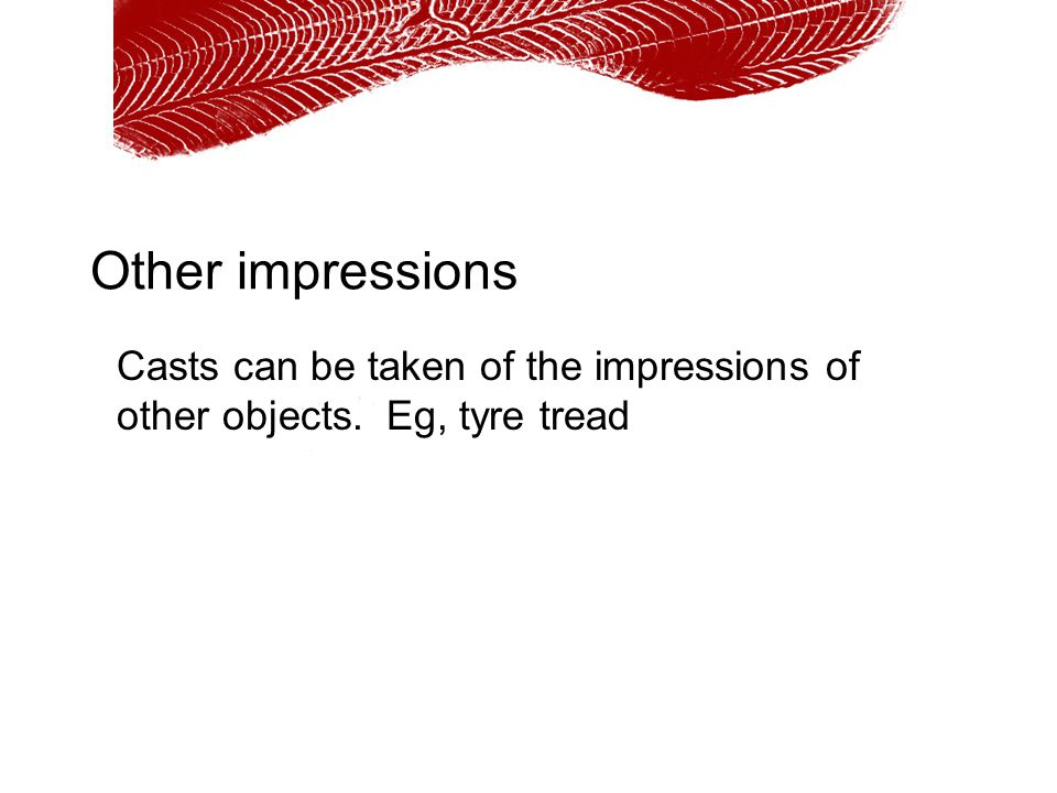 Other impressions Casts can be taken of the impressions of other objects. Eg, tyre tread