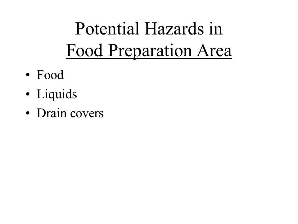 Potential Hazards in Food Preparation Area Food Liquids Drain covers