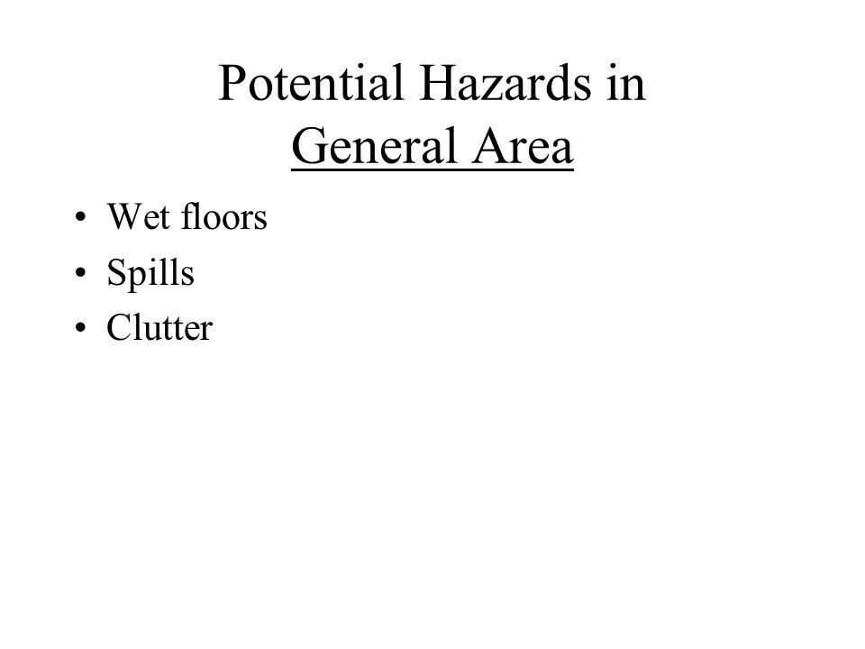 Potential Hazards in General Area Wet floors Spills Clutter
