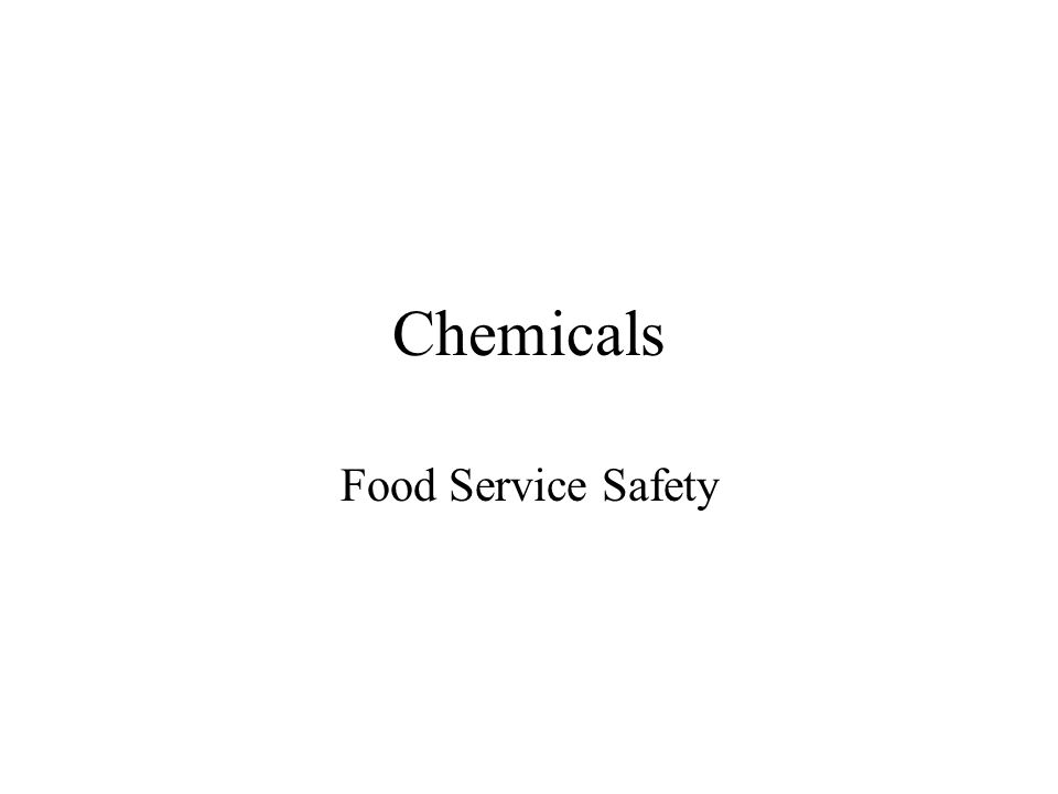 Chemicals Food Service Safety