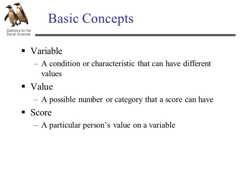 Statistics for the Social Sciences Basic Concepts Variable –A condition or characteristic that can have different values Value –A possible number or category that a score can have Score –A particular persons value on a variable